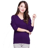 Panreddy Women's 100% Cashmere Slim Fit V Neck Sweater S
