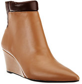 As Is H by Halston Two-Tone Leather Wedge Ankle Boots