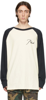 Rhude Off-White and Black Raglan Logo Long Sleeve T-Shirt