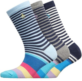 Original Penguin Womens Three Pack Socks Rainbow Toes/Blue/Navy/Grey