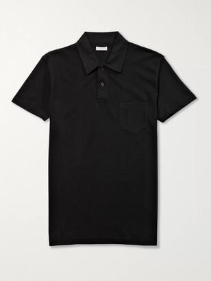 Sunspel Riviera Slim-Fit Cotton-Mesh Polo Shirt - Men - Black