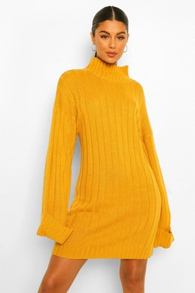 boohoo Maxi Wide Sleeve Wide Rib Jumper Dress