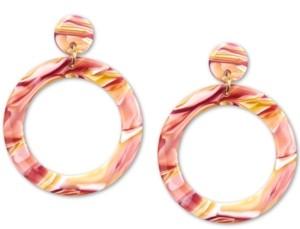 Zenzii Gold-Tone Acetate Tortoise Shell-Look Drop Earrings