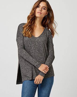 Le Château Drop Shoulder Asymmetric V-Neck Sweater