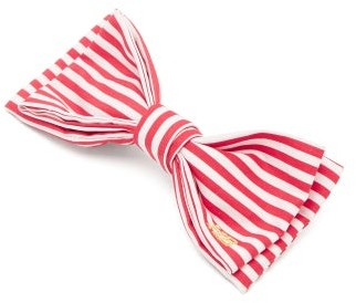 Hillier Bartley Striped Bow Satin Hair Clip - Red White