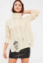Missguided Cream Distressed Turtle Neck Cable Sweater