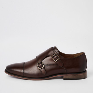 River Island Dark brown leather monk strap derby shoes