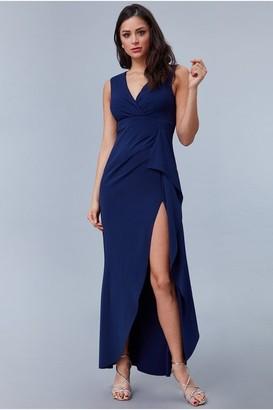 Goddiva Scuba Crepe Frill Maxi Dress
