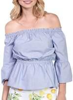 Kensie Flounce Sleeve Cotton Blouse