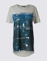 Limited Edition Cotton Blend Printed Short Sleeve T-Shirt