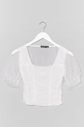 Nasty Gal Womens Sheer Sheer Square Neck Crop Top - White