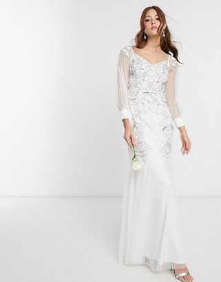 Maya Bridal off shoulder embellished maxi dress with bell sleeves in white
