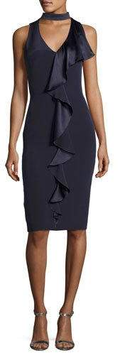 Theia Sleeveless Stretch Silk Ruffle-Trim Cocktail Dress, Blueberry
