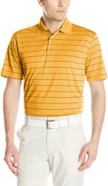 PGA TOUR Men's Golf Performance Airflux Three Color Stripe Short Sleeve Polo Shirt