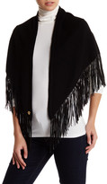 Anne Klein Wool Blend Genuine Leather Fringe Wrap