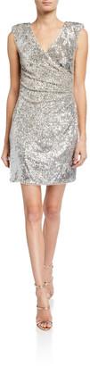 Aidan Mattox Sequin Faux Wrap Mini Dress