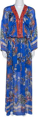 Roberto Cavalli Blue Floral Print Silk Bead Embellished Kaftan Dress M