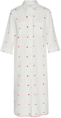 Ada Kamara Dot Shirt Dress In White Red