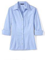 Classic Women's Plus Size 3/4 Sleeve Tonal Stripe Shirt-True Blue