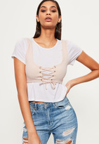 Missguided Nude Corset Lace Up Crop Top