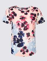 Marks and Spencer Floral Print Round Neck Short Sleeve T-Shirt