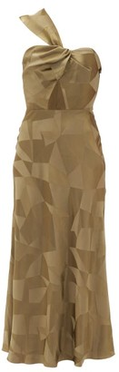 Racil Tangier Aprilia One-shoulder Cutout Satin Dress - Khaki