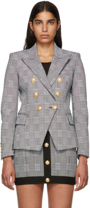 Balmain Black and White Six-Button Blazer