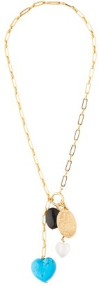 Timeless Pearly - Stone & Charm Drop Gold Plated Necklace - Womens - Blue