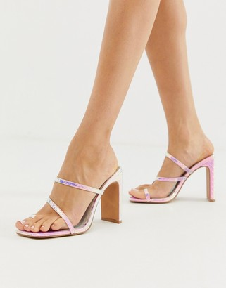 Barely There Asos Design ASOS DESIGN Heckle toe loop block heeled sandals in iridescent croc-Multi