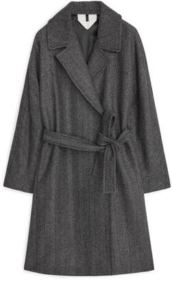 Arket Wool Herringbone Belted Coat
