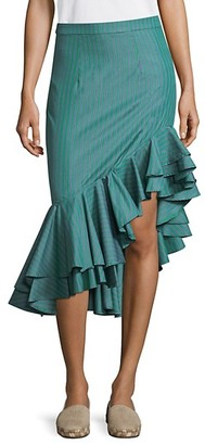 Maggie Marilyn I Just Want To Be Free Striped Cotton Ruffle Skirt