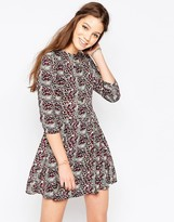 Glamorous Ditsy Print Long Sleeve Skater Dress