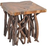 Jeffan Decorative Brown Rustic Transitional Liberte Square Accent Side Table