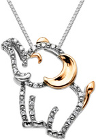 Zales Diamond Accent Happy Elephant Pendant in Sterling Silver and 14K Rose Gold