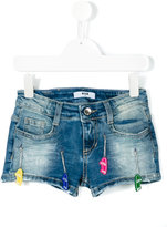 MSGM skateboard embellished denim shorts - kids - Cotton/Spandex/Elastane - 4 yrs