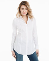 White House Black Market Wrinkle-Free Long White Poplin Shirt