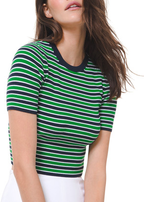 Michael Kors Collection Striped Short-Sleeve Sweater
