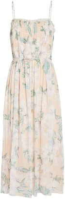 Intermix Jade Floral Silk Midi Dress