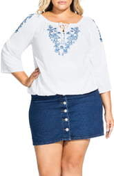 City Chic Floral Embroidered Tunic
