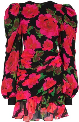 Richard Quinn Rose Print Mini Dress