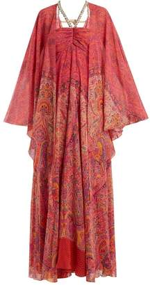 Etro Paisley Print Embellished Silk Georgette Gown - Womens - Pink Print