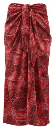 Ganni Snake-print Silk-blend Satin Midi Skirt - Womens - Red Multi
