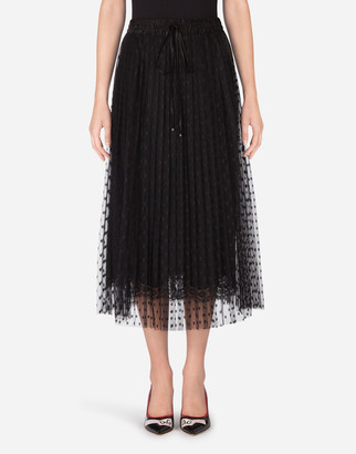 Dolce & Gabbana Patterned Tulle Midi Skirt