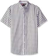 Nick Graham Men's Iron Man Arc Reactor Gingham Short Sleeve Sport Shirt, Grey