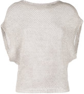Eleventy bat-wing knitted top - women - Linen/Flax - M