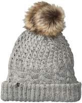Plush Fleece-Lined Chunky Knit Hat with Faux Fur Pom Pom Beanies