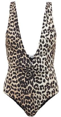 Ganni Plunge-neck Leopard-print Swimsuit - Leopard