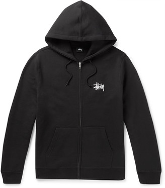 Stussy Logo-Print Fleece-Back Cotton-Blend Jersey Zip-Up Hoodie