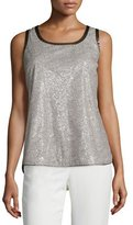 Lafayette 148 New York Roya Sleeveless Shimmer Blouse