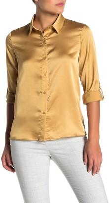Everleigh Satin Button Front Shirt (Regular & Petite)